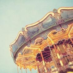 Original carnival photography by Irene Suchocki. Merry-go-round in soft pastel colors
