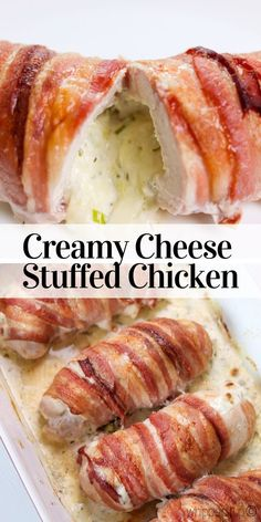 Cream Cheese Stuffed Chicken Breast is the best dinner party recipe EVER, is it absolutely delicious! Oh, and did I mention it is wrapped in bacon? Best Chicken Recipes, Bacon Recipes, Cooking Recipes, Rolled Chicken Recipes, Stuffed Chicken Recipes, Chicken And Cheese Recipes, Game Recipes, Recipies, Bacon Wrapped Stuffed Chicken