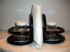 Horse Shoe Salt and Pepper Napkin Holder Horseshoe Decor $42.00