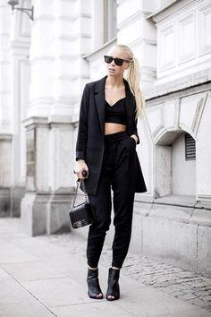 Victoria Tornegren | black crop top + trousers + open-toe boots + jacket