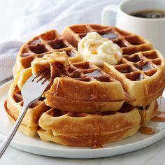 Belgian-Style Waffles from Land O'Lakes Breakfast Items, Breakfast Dishes, Breakfast Recipes, Waffle Recipes, Brunch Recipes, Sweet Recipes, Mango Smoothie Healthy, National Waffle Day, Belgium Waffles