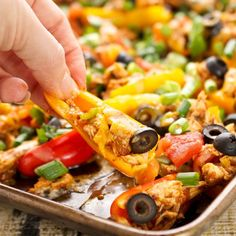 These nacho-less nachos are a fast, easy and healthier finger food because it uses mini bell peppers instead of chips!