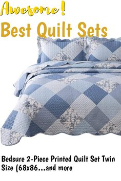 Bedsure 2-Piece Printed Quilt Set Twin Size (68x86 inches), Blue Floral Patchwork Pattern, Lightweight Bedspread Coverlet Design for All Season, 1 Quilt and 1 Pillow Sham ... (This is an affiliate link) #quiltsets