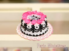 French Boudoir Cake with Pretty Pink Rose by ParisMiniatures