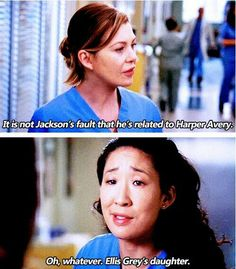 Meredith and Cristina...HA! Even on TV, family can be a problem sometimes!!