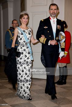 Queen Letizia of Spain and King Felipe of Spain attend a Gala Dinner at Christiansborg Palace on the eve of the 75th Birthday of Queen Margrethe of Denmark on April 15, 2015 in Copenhagen, Denmark.