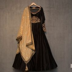 Matsya ~ Gold New collection . Anarkali . Gotta . Kantha . #matsyagold #indianheritage #madeinindia #handcrafted #withlove #anarkali #brown #indianweddings #gold #gotta #kantha #dupatta #wedding #black #perfect
