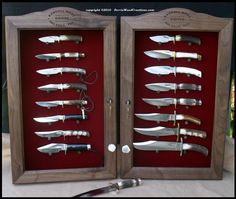 Pocket knife display case cabinet shadow box glass door walnut diy knife display case google search planetlyrics Images