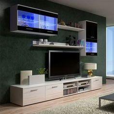 Semblable à son grand frère Beta 1, BETA II est un grand ensemble TV design ! Deux meubles bas accueilleront votre télévision et tous vos lecteurs multimédia. L'un d'1m avec deux placards et le second d'1m50 avec un placard et 4 niches. Ils sont accompagnés de 2 étagères, d'un placard suspendu avec vitrine à éclairage leds et d'une vitrine horizontale suspendue avec éclairage leds également.