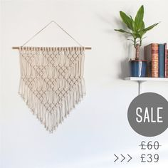 SALE > Macrame Wall Hanging > Ecru Recycled Cotton Cord (Little Triangles)