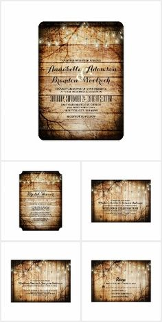 String Lights Barn Wood   Wedding Collection. This rustic country wedding set / stationary / suite may include: Wedding invitation cards, wedding envelopes, wedding RSVP Cards, wedding address labels, save the dates, wedding programs, wedding thank you cards, rehearsal dinners, stamps and more matching wedding products. Click image to see all available matching items.