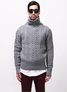 BM Top Quality Cable Knit Turtleneck Sweater 1 $80.00 FABRIC 80% Wool, 20%
