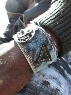Mens Distressed Denim and Clock Bracelet Grunge by Soclichejewelry