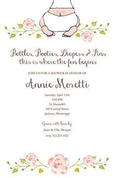 baby shower invitations baby bottom girl bella ink