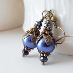 Set of 6 Bridesmaid Earrings Midnight Blue Pearl by FiveLittleGems