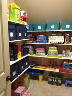 Shelves for playroom storage room! I just need to build a playroom-pantry, love the idea! Better than looking at a bunch of bins or plastic tubs.