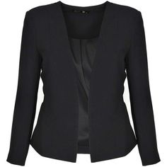 Boohoo Laura Collarless Tailored Blazer ($16) ❤ liked on Polyvore featuring outerwear, jackets, blazers, tailored jacket, collarless jacket, collarless blazer and tailored blazer