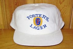 FOSTER'S LAGER Vintage 80s Beer Embroidered White Corduroy hat at HatsForward