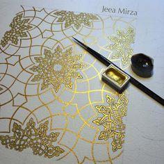 #artofislamicpattern #MyGeometrySeries #jeeamirza #tezhip #islimi #gold #gilding #gouache #watercol