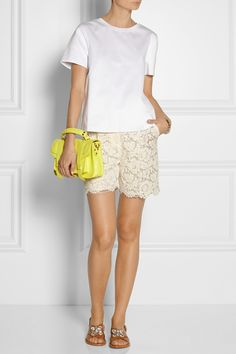 Valentino | Cotton-jersey T-shirt | Valentino|Lace and silk-organza shorts|Marni | Crystal-embellished leather sandals | Proenza Schouler | PS1 Tiny leather satchel