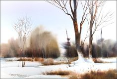 Sterling Edwards Signature Series Brush Set with DVD - JerrysArtarama . Watercolor Landscape Paintings, Watercolor Trees, Abstract Watercolor, Watercolor And Ink, Watercolor Illustration, Painting Snow, Winter Painting, Painting Trees, Art Aquarelle