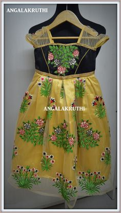 Kids frock designs, kids floral frock ,  Custom Designs by Angalakruthi Hand Embroidery by Angalakruthi Ladies and Kids boutique in Bangalore  Facebook page :https://www.facebook.com/Angalakruthi-636772019798031/
