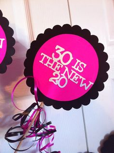 Birthday Decorations Centerpiece Signs with by FromBeths 30th Party, 30th Birthday Parties, 30 Birthday, Birthday Celebrations, 30th Birthday Decorations, Birthday Centerpieces, 30 Bday Ideas, Birthday Ideas, Happy Birthday Girls
