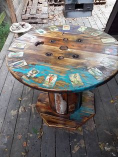 103 Best Spools Painted Decorated Images Cable Reel Table