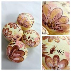 Handpaint Macarons Floral In Brown  on Cake Central