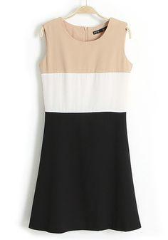 Multicolor Color Block Sleeveless Cotton Blend Dress