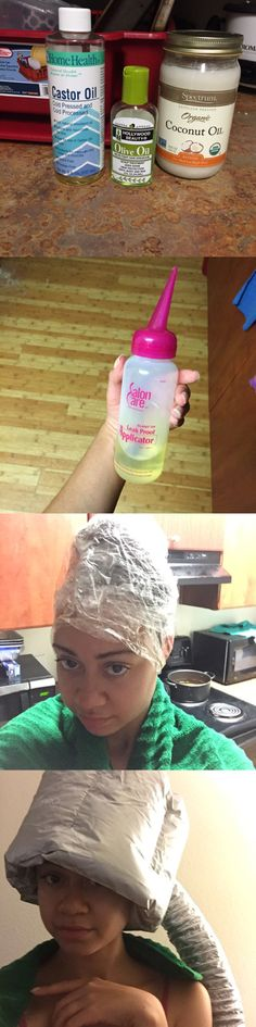 Coconut and castor hot oil treatment. It was a bit card to wash out but it works. I say heat the castor oil for 12sec