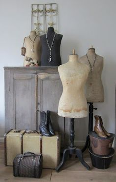 Lovely dress forms vintage button up shoes and suit cases