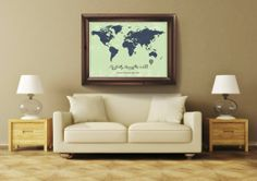 Personalized World Map Green & Blue Custom Poster Map by lilypeg