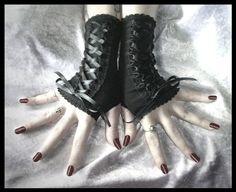 Bound Black Lolita Corset Style Fingerless Gloves Laced Up w/ Black Ribbon - EGL Kuro Wedding Belly Dance Dark Fusion Bellydance Emo Vampire. $26.00, via Etsy.