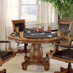 Features:  -Black felt top can be flipped over to convert to wood top dining table.  -Drink and chip holders.  -Light cherry finish.  -Strawn collection.  -Recommended care: Dust frequently using a cl Game Room Furniture, Table Furniture, Furniture Ideas, Furniture Showroom, Furniture Sale, Rustic Furniture, Antique Furniture, Bedroom Furniture, Furniture Design