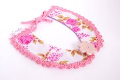 Peter Pan collar Necklace detachable collar crochet collar rose pink necktie vintage Fabric collar  Ceramic Button