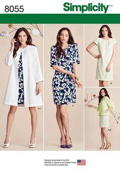 Misses' dress has short or 3/4 length raglan sleeves plus overcoat and jacket with full length raglan sleeves. Simplicity sewing pattern.