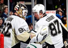Vokoun and Crosby congratulate each other on yet another great WIN, 3/22/13 against the Islanders