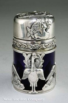 Art Nouveau Silver-Mounted Cobalt Glass Bottle