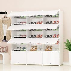 JOISCOPE Portable Shoe Storage Organzier Tower Modular Shoe Cabinet for Space Saving Shoe Racks Ideal for Shoes Boots Slippers 3 7 Storage Hooks Décor Rugs-Pads Rugs Products Supplies Media Shoe Rack Organization, Closet Shoe Storage, Wardrobe Storage, Household Organization, Shoe Organizer, Cabinet Shelving, Shoe Storage Cabinet, Storage Boxes, Shoe Rack With Shelf