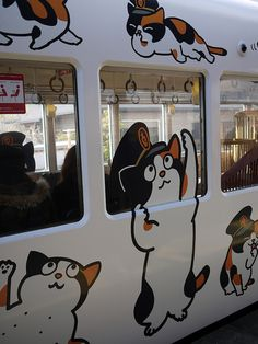 The Tama Train, Wakayama, Japan 和歌山電鐵 たま電車. (See pin of Tama below). Japanese Culture, Japanese Art, Crazy Cat Lady, Crazy Cats, Japan Kawaii, Graffiti, Street Art, Japanese Travel, Wakayama