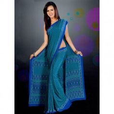 Blue saree with fancy printed for $30