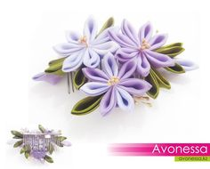 Comb with kanzashi flowers by Avonessa on Etsy