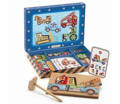 Djeco Vehicles Tap Tap Multicoloured `One size Details : Assemble the pieces on . Djeco Vehicles T Kid Picks, Wooden Shapes, Toys Online, Uk Online, Toys Shop, Wood Toys, Craft Kits, Fine Motor Skills, Shopping