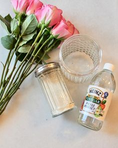 Make fresh flowers last longer (1 tsp white vinegar, 1 tsp white sugar, dissolved into warm water)