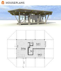 Very Modern Pavilion-Style Tiny House Plan. #64-193