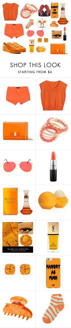 """Project 27-orange"" by courts-rara on Polyvore featuring Juicy Couture, Salvatore Ferragamo, Ruby Rocks, MAC Cosmetics, Eos, Yves Saint Laurent, France Luxe, For Bare Feet, women's clothing and women"