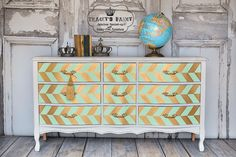 Unique hand painted furniture and custom wall art. by TraceysFancy Coral Dresser, Green Dresser, 9 Drawer Dresser, Drawers, Diy Dressers, Fancy Shop, Metallic Painted Furniture, Nursery Dresser, Palette