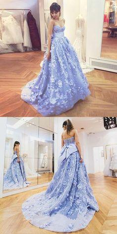 Beautiful Sweetheart Long Ball Gown Blue Applique Princess Prom Dresses  Quinceanera Dresses Z0227 ec1451c6a