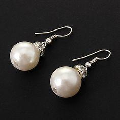 Classic (Ball-shaped Drop) White Imitation Pearl Drop Earrings (1 Pair) – AUD $ 1.22